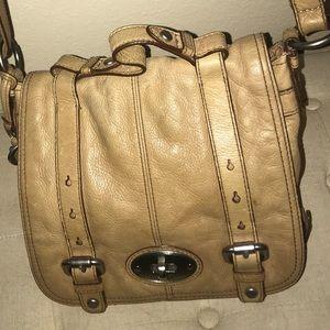 Fossil Crossbody Tan Leather Saddle Bag.